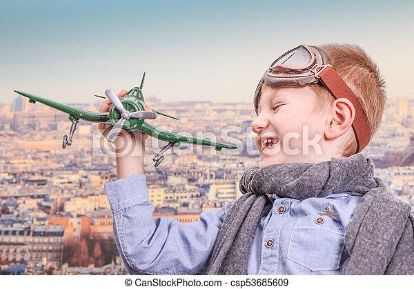 jouet, jouer, aviateur, avion, jeune - csp53685609