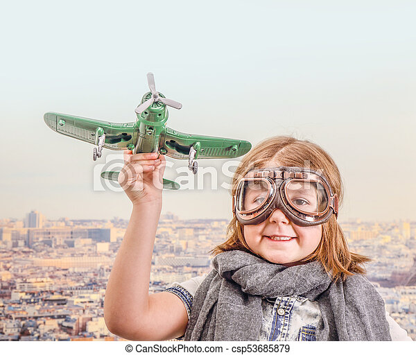 jouet, jouer, aviateur, avion, jeune - csp53685879