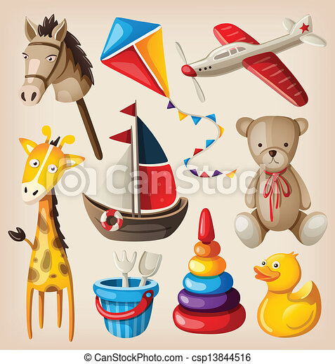 jouets, vendange, coloré, ensemble - csp13844516