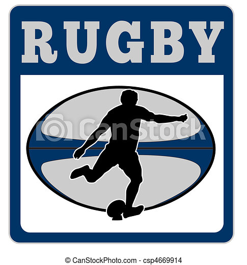 joueur, balle, rugby, donner coup pied - csp4669914