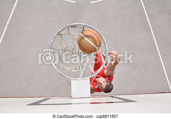 joueur, basket-ball, tir - csp8811857