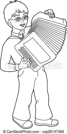 Dessin Accordéon joueur, dessin, accordéon. musicien, jeune, illustration, eps