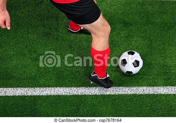 joueur, dribble, football, aérien - csp7678164