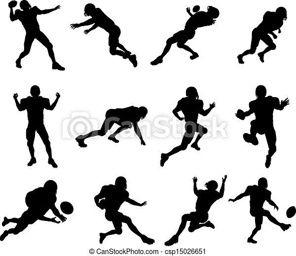 joueur, football américain, silhouette - csp15026651