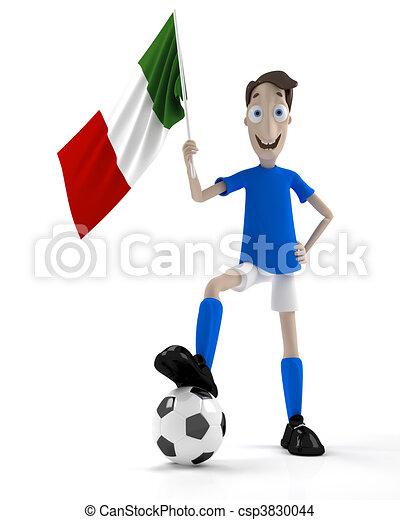 joueur, football, italien - csp3830044