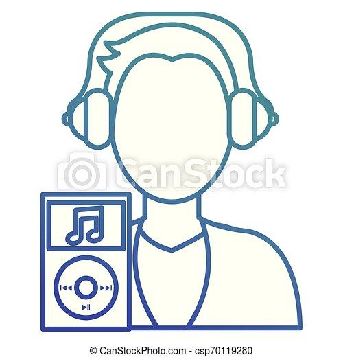joueur, homme, caractère, jeune, musique - csp70119280