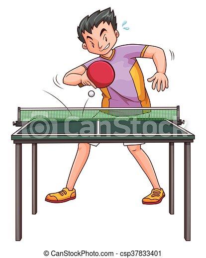 Joueur jouer pingpong table joueur jouer pingpong - Dessin tennis de table ...