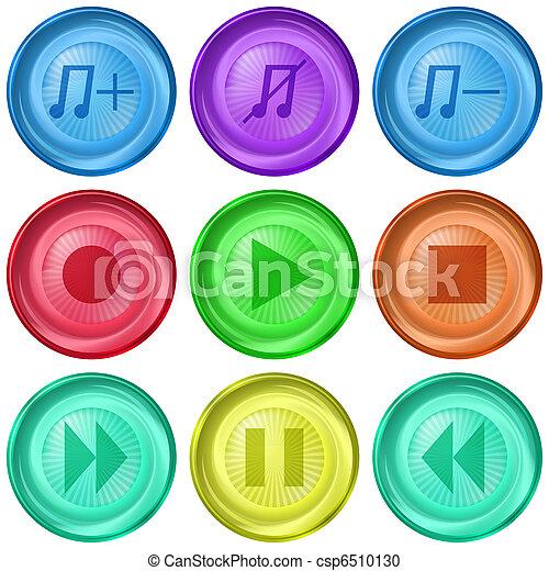 joueur, média, boutons - csp6510130