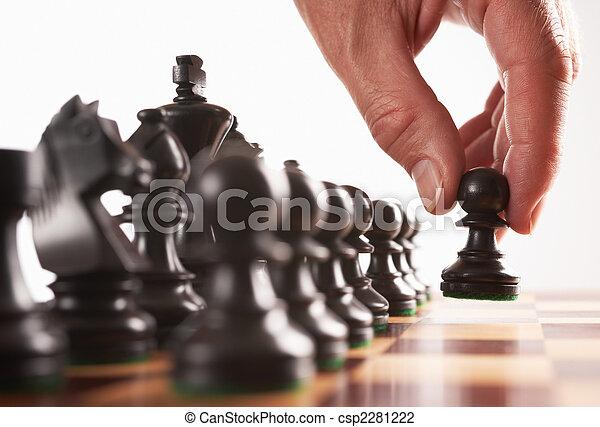 joueur, mouvement, noir, échecs, premier - csp2281222
