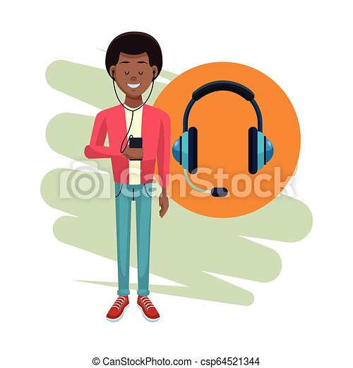 joueur, musique, jeune homme - csp64521344