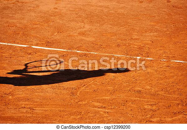 joueur, ombre, court tennis, argile - csp12399200