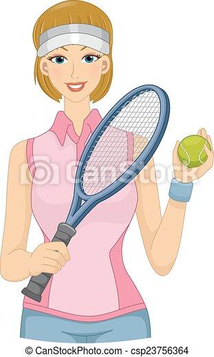 joueur, pelouse, tennis, girl - csp23756364