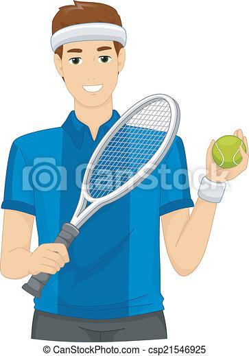 joueur, pelouse, tennis - csp21546925