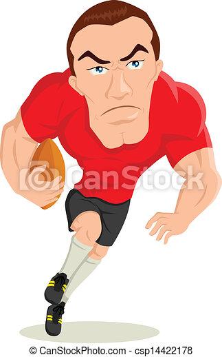 Joueur rugby joueur caricature rugby illustration - Dessin de joueur de rugby ...
