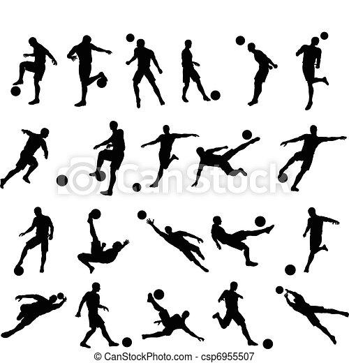 joueur, silhouettes, football football - csp6955507