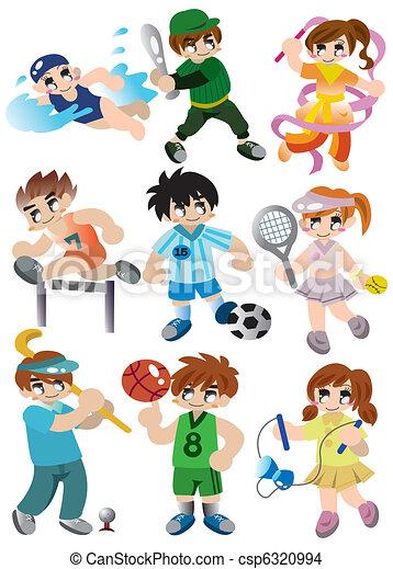 joueur, sport, ensemble, dessin animé, icône - csp6320994