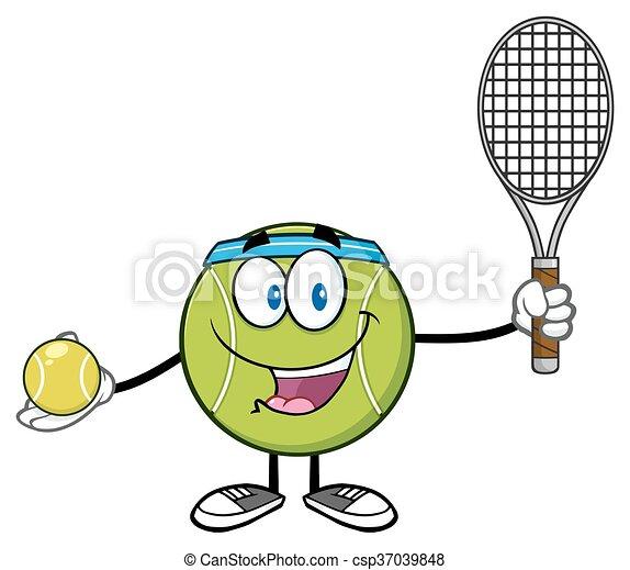 Joueur tennis caract re balle balle tennis caract re - Raquette dessin ...