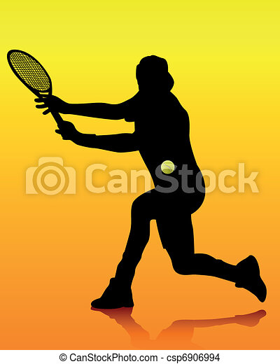 joueur, tennis, silhouette, noir - csp6906994