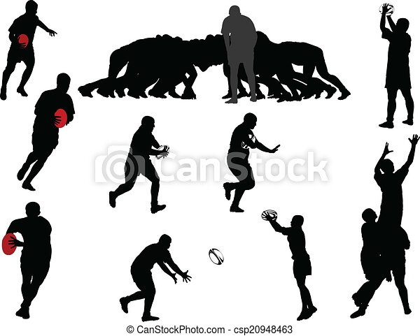 joueur, vecteur, -, rugby, collection - csp20948463