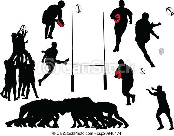 joueur, vecteur, -, rugby, collection - csp20948474