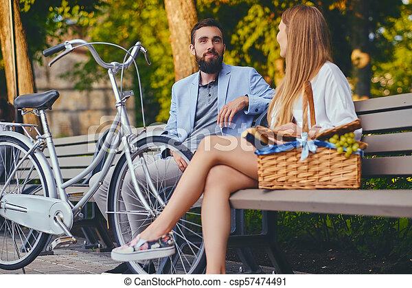 jouir de, couple, park., banc pique-nique - csp57474491