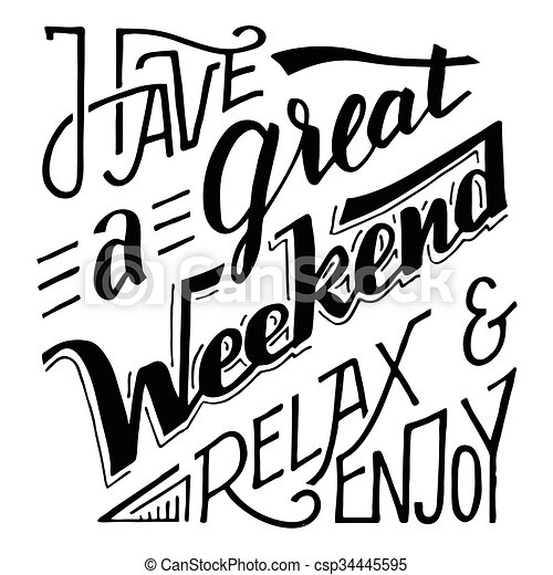 jouir de, lettrage, grand, relâcher, avoir, week-end - csp34445595