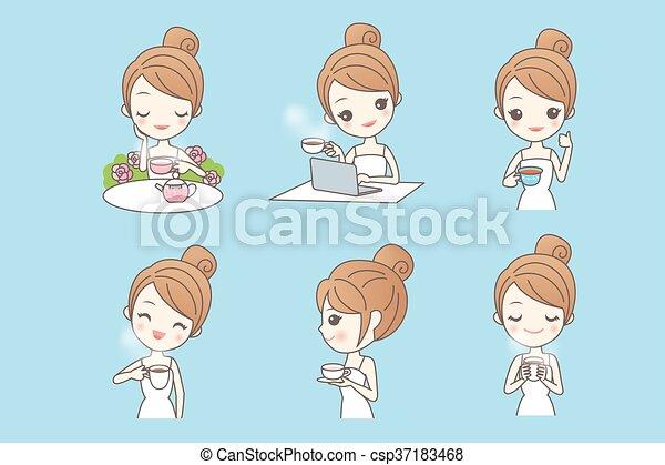 jouir de, thé, femme, dessin animé, jeune - csp37183468