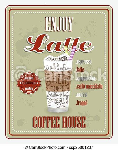 jouir de, vecteur, fond, latte - csp25881237