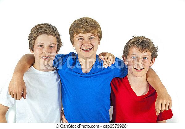 jouir de, vie, amis, trois, joyeux - csp65739281