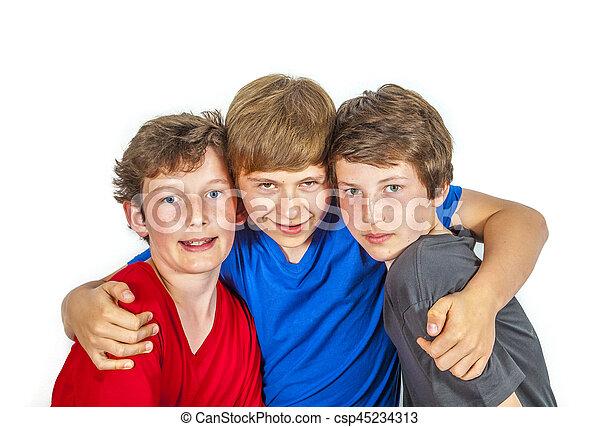 jouir de, vie, trois amis, joyeux, heureux - csp45234313