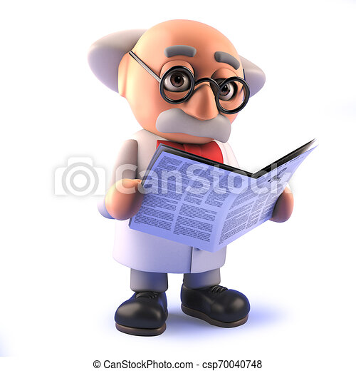 journal, scientifique, prof, dessin animé, fou, lecture, 3d - csp70040748