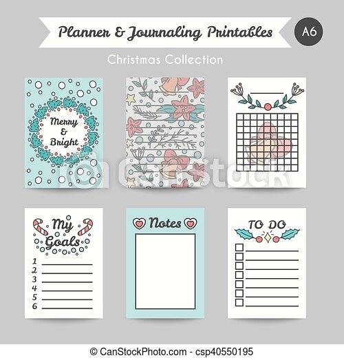 Journaling, estilo, printable, navidad, jornal, línea, páginas ...