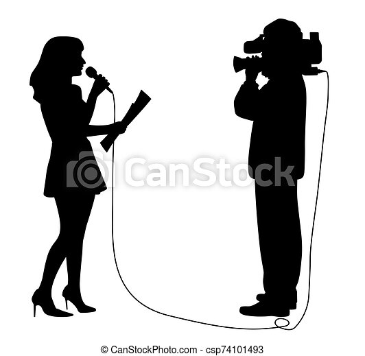 Journalist news reporter anchor woman and cameraman making reportage - csp74101493