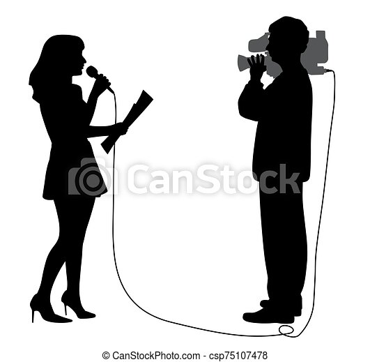 Journalist news reporter anchor woman and cameraman making reportage - csp75107478