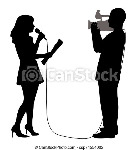 Journalist news reporter anchor woman and cameraman making reportage - csp74554002