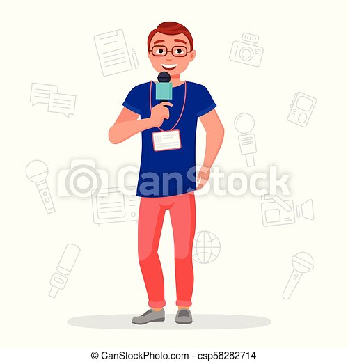 Journalist With Microphone Vector Flat Illustration News Reporter Isolater On White Background