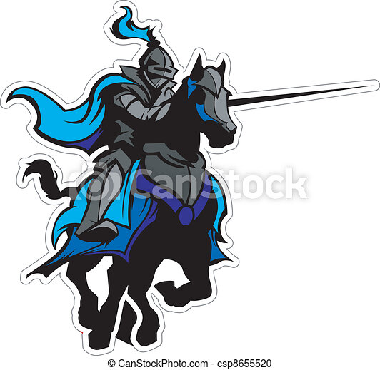 Jousting Blue Knight Mascot on Horse - csp8655520
