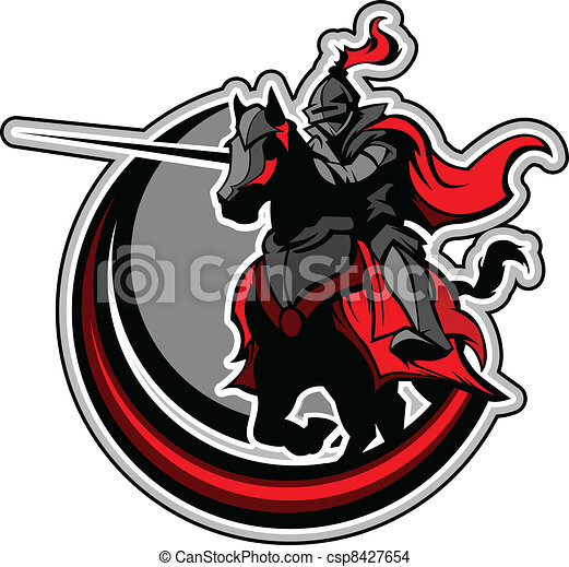 Jousting Knight Mascot on Horse  - csp8427654