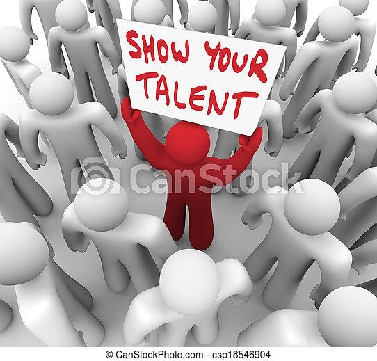 jouw, talent, talent, tonen, vaardigheden, meldingsbord, persoon, vasthouden, display - csp18546904