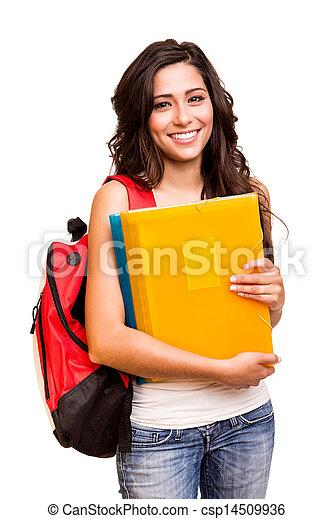 jovem, estudante, feliz - csp14509936