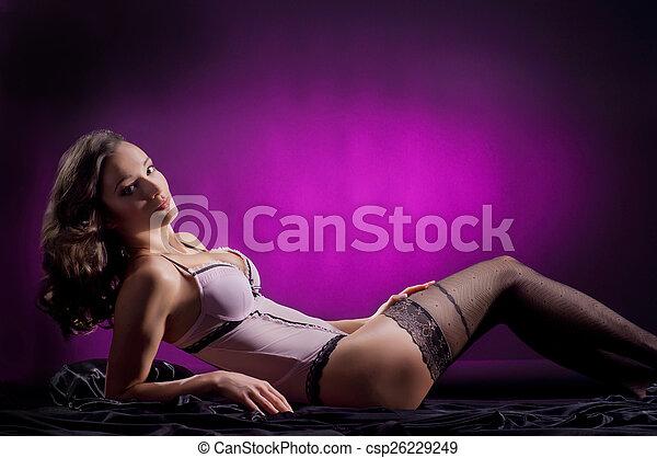 jovem, langerie, vindima, atraente, mulher, disparar, moda - csp26229249