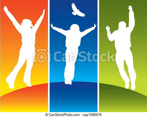 jovem, pular, três pessoas - csp1596476