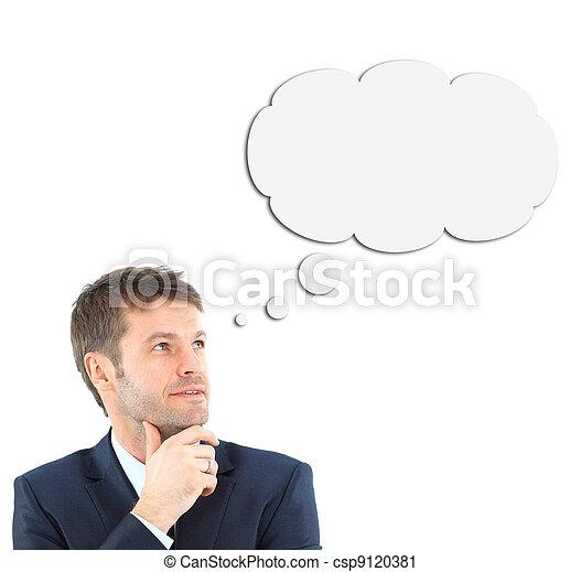 El joven piensa, aislado en blanco - csp9120381