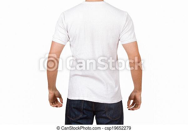 b3e0dc58e Joven, blanco, tshirt, hombre. Su, aislado, joven, espalda, fondo ...