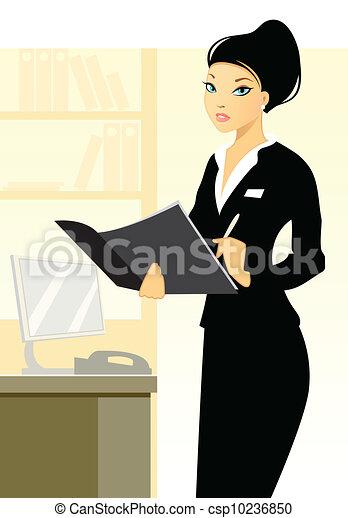 Secretaria joven en el cargo - csp10236850