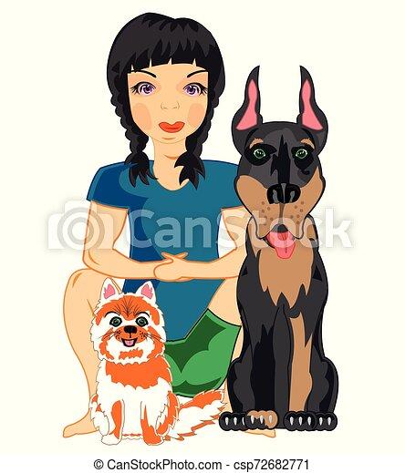 Ilustración vectorial de la joven con mascotas gato y perro - csp72682771