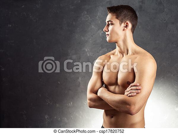 Retrato de joven musculoso - csp17820752