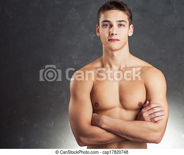 Retrato de joven musculoso - csp17820748