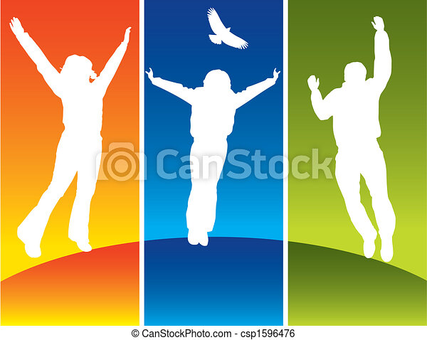Tres jóvenes saltando - csp1596476