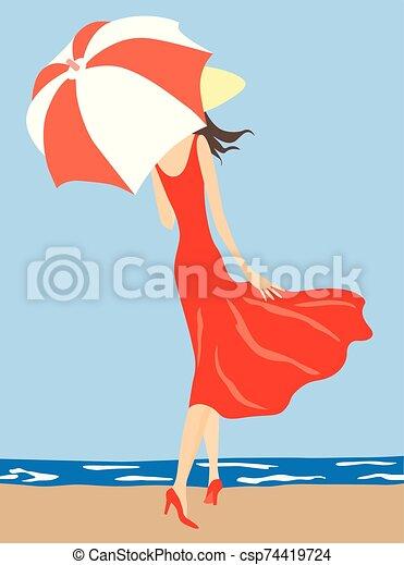 joven, vector, ilustración, ambulante, mujer, paraguas, debajo, delgado, costa - csp74419724